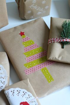 Mmi #87_Frollein Pfau Brown Paper Packages, Secret Santa, Christmas Presents, Homemade, Stamp, Christmas, Creative, Deco