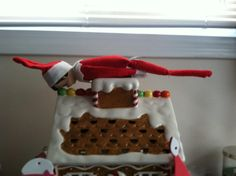Forget the planking-this gives me an idea, have our elf eat candies off our gingerbread house.