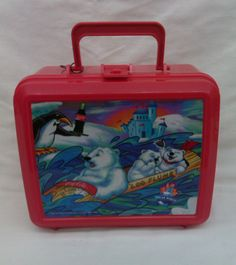 Coca-Cola Log Flume Popular World Lunch Box with Thermos 1996 Red Hot!