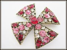 Maltese Cross Brooch Pendant  Pink Red by VintagObsessions on Etsy #vogueteam #maltesecross #pinkrhinestonecross