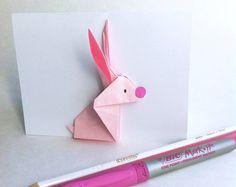 Bunny! Origami, Bunny, Etsy, Plush, Cards, Bunnies, Rabbit, Hare, Paper Folding