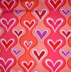 Valentine Fabric Wavy Hearts by Hallmark by SuesFabricNSupplies, $10.50