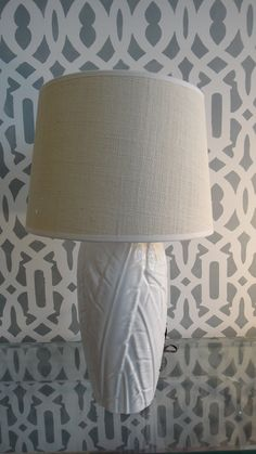 Hollywood Regency LAMP White Ceramic Palm Leaves by tweakedhome, $420.00