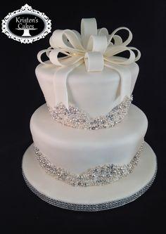 - Pearls & Bling bridal shower cake.