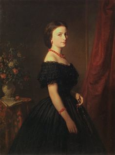 Maria Sawiczewska, 1861, Leopold Löffler. Though the dress itself is elaborate, the simplicity and boldness of the jewelry and the contrast between its coral and the black fabric make the sitter look quite modern.