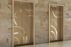 Fused White Gold Elevator Door skin in Mirror finish with ECO205H Eco-Etch   http://www.forms-surfaces.com/