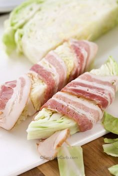 Bacon wrapped cabbage it both low carb and keto friendly Just a few simple ingredients, cabbage wrapped in bacon and cooked to tender perfection is the perfect side dish for any meal! cabbage cabba is part of Keto diet recipes - Bacon Recipes, Diet Recipes, Cooking Recipes, Healthy Recipes, Recipies, Keto Veggie Recipes, Budget Cooking, Cauliflower Recipes, Egg Recipes