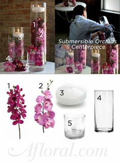 DIY Submersible Orchids Centerpiece for your DIY wedding! DIY wedding decorations at afloral.comFollow this link to get all the products pictured above http://www.afloral.com/Silk...