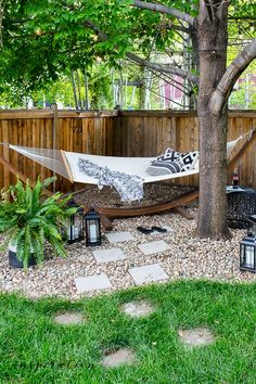 Backyard Hammock, Backyard Retreat, Backyard Fences, Backyard Landscaping, Hammocks, Hammock Ideas, Fun Backyard, Backyard Garden Landscape, Diy Fence