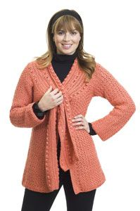 "Scarf-Tied Jacket - intermediate (sizes S to 3XL, bust sizes 34"" to 55.5"" - free pdf instructions)"
