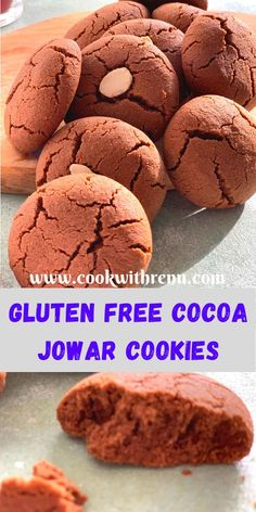 Eggless Jowar Chocolate Cookies have the melt in the mouth texture bursting with chocolate flavour and made using Gluten free Jowar (Sorghum) Flour. Coconut Flour Cookies, No Flour Cookies, Oat Cookies, Gluten Free Cookies, Gluten Free Baking, Chocolate Chip Cookies, Wafer Cookies, Chocolate Flavors, Chocolate Recipes