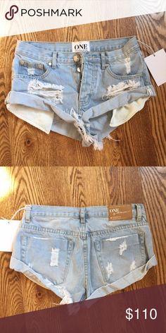 NWT One teaspoon bandits in color Wilde Never worn! * $83 THROUGH MERC * One Teaspoon Shorts Jean Shorts