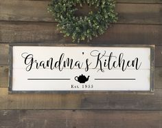 Excited to share this item from my shop: Custom kitchen sign, grandma's kitchen, framed shiplap kitchen sign Wood Wedding Signs, Wood Signs, Pantry Sign, Rustic Chair, Grey Stain, Silhouette Cameo Projects, Kitchen Signs, Home Decor Signs, Wedding In The Woods