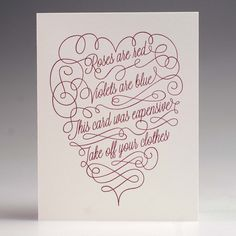 Yes I'll need to receive this as a birthday card please. Roses are Red Poetry Card by W+K Studio - $5
