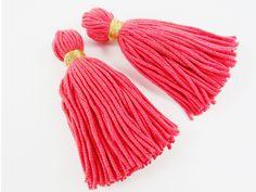 Long Coral Red Handmade Wool  Tassels - 3 inch from Lyla Supplies by DaWanda.com