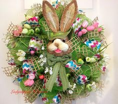 Deco Mesh Wreath-Spring Wreath-Easter Wreath-Bunny Wreath-Door