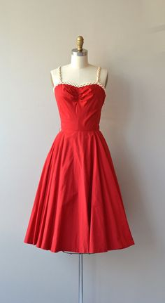 Chain of Love dress vintage 1950s dress cotton 50s by DearGolden