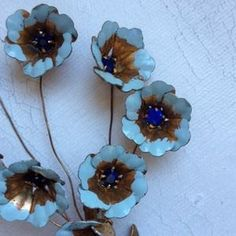 vintage Jewelry - Vintage Pale Blue and Gold Flower Brooch