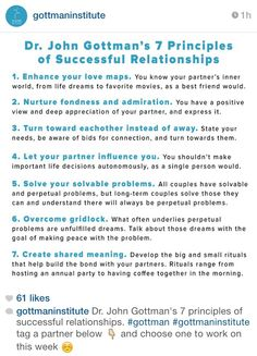 Gottman's Seven Principles of Successful Relationships Relationship Therapy, Healthy Relationship Tips, Healthy Marriage, Marriage Relationship, Marriage And Family, Marriage Advice, Successful Relationships, Healthy Relationships, Mental Health Counseling