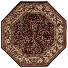This beautiful Persian-style area rug is available in octagonal, rectangular and runner shapes, and in black, burgundy and ivory colors.