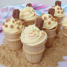 Ice Cream Cone Cupcakes - The Baking Explorer Baking Cupcakes, Cupcake Recipes, Dessert Recipes, Biscoff Cupcakes, Donut Recipes, Dessert Ideas, Summer Cakes, Summer Desserts, Jamaican Ginger Cake