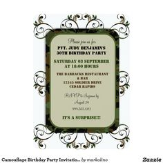 Shop Camouflage Birthday Party Invitations created by markalino. Camouflage Birthday Party, Army Birthday Parties, Army's Birthday, Retirement Parties, Spa Weekend, Create Your Own Invitations, Zazzle Invitations, Birthday Party Invitations, Rsvp