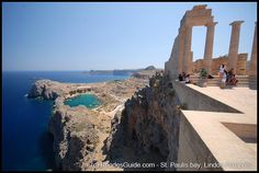 Lindos, Rhodes. View from the Acropolis of Lindos towards Saint Pauls Bay. www.rhodesweddingwishes.com