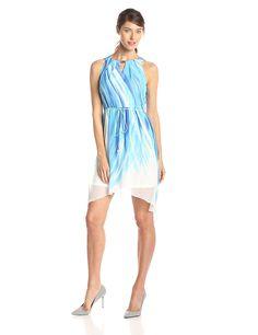 Sandra Darren Women's Petite Chiffon Swirl Print Dress *** Review more details here : Women's dresses