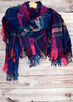 Lush new plaid blanket scarf. Currently offered in Navy with Flamingo Pink Accents.Wrap yourself in colorful accessories.... Super Soft Thick...