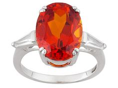 6.89ct Oval Lab Created Padparadscha Sapphire With .43ctw Lab Created