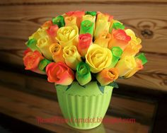 A Citrus Bouquet of Wooden Roses.  A red, yellow, and green bouquet