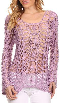 Enjoy Me - sheer crochet sweater top