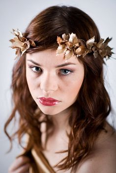 Bridal headpiece Bridal headband Golden petals Grecian Greek Style 011