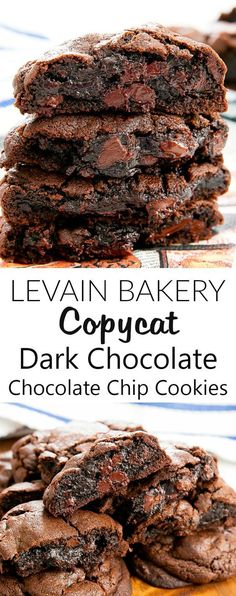 Copycat Levain Bakery Dark Chocolate Chocolate Chip Cookies - - These decadent double chocolate chip cookies are thick, soft, and rich. They taste very close to the dark chocolate chocolate chip cookies from Levain Bakery in New York City. Cookie Desserts, Chocolate Desserts, Chocolate Chocolate, Dessert Recipes, Divine Chocolate, Famous Chocolate, Melted Chocolate, Chocolate Smoothies, Chocolate Shakeology