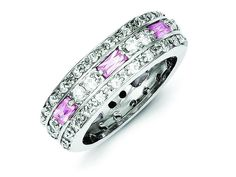 Sterling Silver Pink and Clear Cubic Zirconia Band