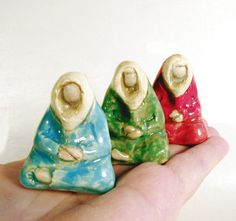 Meditating Colorful Monks or Wise Ones Minimalist Tiny Sculpture Ceramic Miniature Figurative Art by Jillatay on Etsy https://www.etsy.com/listing/159768280/meditating-colorful-monks-or-wise-ones