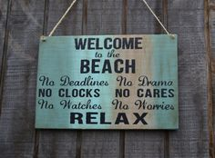 Welcome to the BEACH 13x9 Beach Decor Hanging by CarovaBeachCrafts, $22.00
