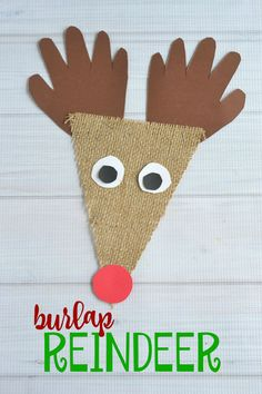 Found it at Blitsy - Burlap Reindeer Kid Craft Reindeer Christmas Gift, Reindeer Craft, Preschool Christmas, Christmas Activities, Christmas Crafts For Kids, Craft Activities, Christmas Projects, Preschool Crafts, Kids Christmas