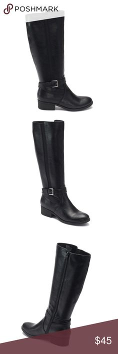 Black Riding Boots - NIB - Comfy Ortholite Black Friday in January!  I won't lie, I bought myself gifts (too many deals/I have a problem) in November and forgot to return them. So, you get the deals poshers.  Nice boots... has some stretch panels that'll help if you have a bigger calf. Sooooo comfy.  NIB, but the box is lightly smushed. Boots are perfect though. croft & barrow Shoes Combat & Moto Boots