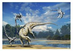 *Deinonychus & *Tenontosarus. Art by Alain Beneteau