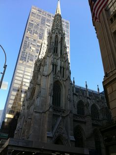 "St. Patrick's Cathedral on 5th Avenue has got to be one of the most beautiful churches in North America. With a 5th Avenue address, one could argue it just 'has' to be!The church was undergoing a restoration when we were there, but I still managed to get a 'sans' scaffolding and hoarding shot. The beautiful blue sky, and the juxtaposition of the modern building in the next block also add to appeal of this masterpiece of ""Neo-Gothic' style architecture. Just Beautiful..."