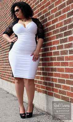"""Real Curve Cutie and model, Tierra (5'7.5"""" and a size 1x/2x) models our plus size Valentina Illusion Dress for a fabulous boutique, SexyPlus Clothing, and shows off those killer curves.  See more sexy dresses and fabulous Real Curve Cuties at www.kiyonna.com.  #KiyonnaPlusYou  #MadeintheUSA  #OOTD"""