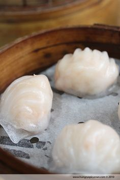 Steamed Shrimp Dumplings... Definitely my favorite Dim Sum dish. Dip one of these in Chinese chili oil and you have a perfect bite.