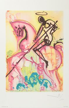 """This is a Salvador Dali lithograph print titled """"ST. GEORGE AND THE DRAGON"""" from the Dalinean Horse Suite. This piece has a Dali plate signed signature on the lower right. National Gallery Of Art, Art Gallery, Salvador Dali Oeuvre, Salvador Dali Artwork, Peggy Guggenheim, Museum Ludwig Köln, Saint George And The Dragon, Saint Georges, Saint Nicolas"""