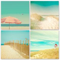 Ocean photography, beach art, waves, seaside, turquoise, aqua, blue green, summer, sand, seashells, red umbrella, lighthouse
