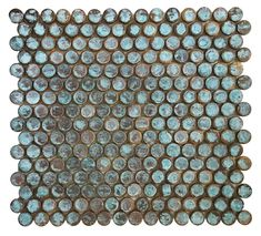 Verdigris Antique Patina Penny Round Copper Tile for Backsplash & Wall Penny Round Tiles, Penny Tile, Glass Mosaic Tiles, Mosaic Wall, Stone Mosaic, Wall Tiles, Copper Bath, Copper Penny, Mosaic Pieces