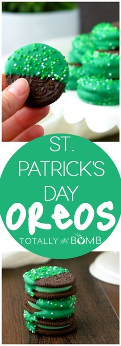 Patrick's Day Mint Dipped Oreos - Green Treats Recipe via Totally the Bomb patricks day food for office The BEST Easy St. Patrick's Day Desserts and Treats Recipes – Lucky Green Sweets for your Spring Holiday Party! Desserts Valentinstag, Holiday Treats, Holiday Parties, Holiday Recipes, Holiday Drinks, Tea Parties, Oreo Dessert, Oreo Cake, Saint Patrick's Day