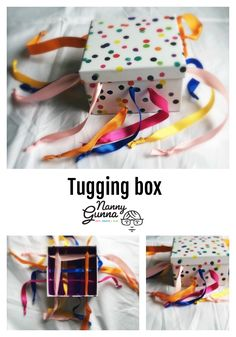 Tugging box Your child will enjoy the tugging, pulling or drawing the string bac. - Tugging box Your child will enjoy the tugging, pulling or drawing the string back and forth. Baby Learning Activities, Montessori Activities, Infant Activities, 9 Month Old Baby Activities, Montessori Toddler, Preschool Toys, Kids Learning, Baby Sensory Play, Baby Play