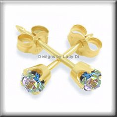 Ear Piercing Studs. 	3mm Gold Rainbow Crystal Pronged Ear Piercing Earrings Studex System 75 Studs. STUNNING color! Only $8.99