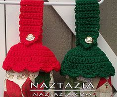 Crochet Kitchen Towel Toppers for Christmas